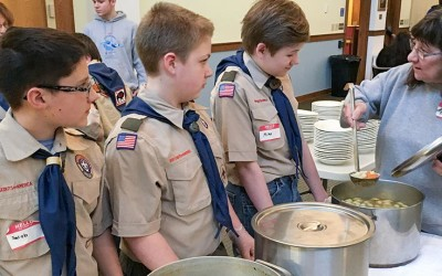 Boy Scout Troop 445 Volunteer at Wednesday Night Dinner