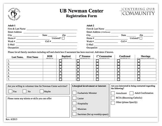 UB Newman Registration Form